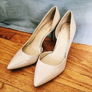 Patent Leather Nude Heels Pointed Size 8